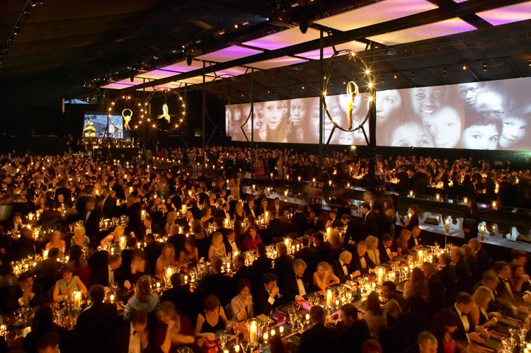 Interior of Peppers Marquee for Charity event at Battersea power station, London
