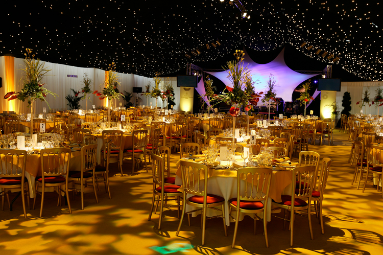 Interior or Peppers Marquee for corporate dinner in Hull