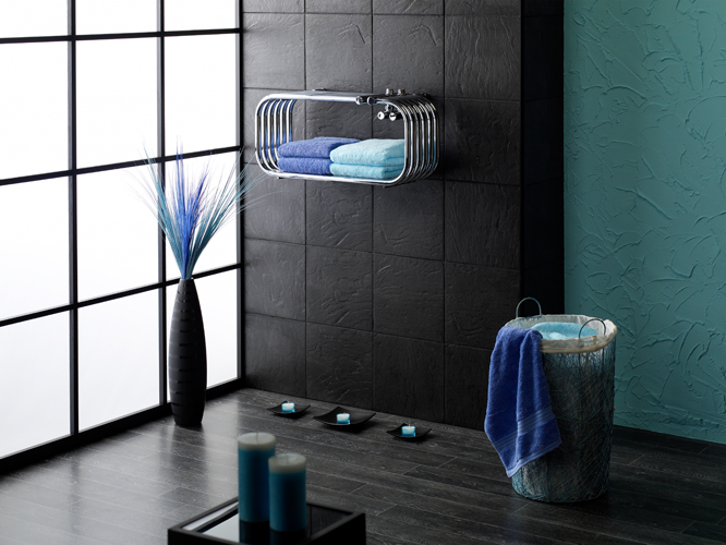Designer Towel warmer in Oriental style room set